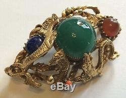 Rare Vintage Selro Selini Rare Dragon Serpent Jade And Coral Rhinestone Brooch