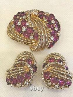 Rare Vintage Signed Boucher Cabochon Brooch Pin And Earrings Set