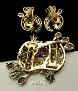 Rare Vintage Signed Coro Duette Goldtone Red Rhinestone Brooch & Earring Set A69