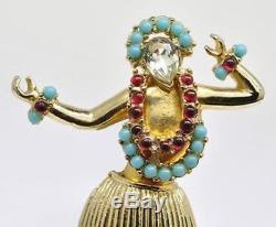 Rare Vintage Signed Coro Hawaiian Hula Dancer Figural Rhinestone Brooch Pin