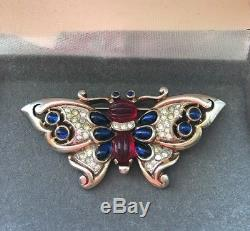 Rare Vintage Signed Crown TRIFARI 01 Jelly Belly Butterfly Pin Brooch
