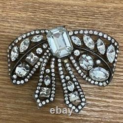 Rare Vintage Signed Eisenberg Original Sterling 1940s Rhinestone Bow Brooch Pin