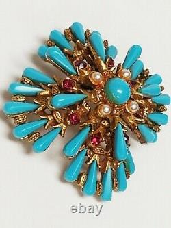 Rare Vintage Signed HAR Turquoise Glass & RS Articulated Earrings & Brooch Demi