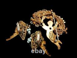 Rare Vintage Signed Miriam Haskell Gilt Jeweled Cherub Brooch Pin & Earrings Set