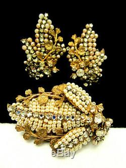 Rare Vintage Signed Miriam Haskell Goldtone Pearl Rhinestone Brooch Earring Set