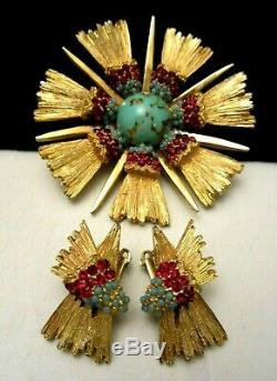 Rare Vintage Signed Schiaparelli Turquoise Red Rhinestone Brooch Earring Set A9