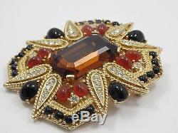 Rare Vintage Sparkling Jeweled Ciner Made With Swarovski Crystal Brooch 2.25