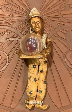 Rare Vtg 2-1/2 Signed HAR Goldtone Jeweled Fortune Teller Genie Brooch Pin