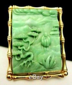 Rare Vtg 2-1/2 Signed Hattie Carnegie Goldtone Jade Asian Buddha Brooch/Pendant