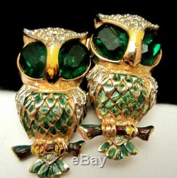 Rare Vtg 2 Signed Coro Enamel Green Rhinestone Owl Brooch Fur Clips Duette A21