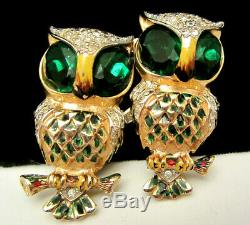 Rare Vtg 2 Signed Coro Enamel Green Rhinestone Owl Brooch Fur Clips Duette A30