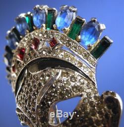Rare Vtg Mazer Face Mask Figural Rhinestone Fur Clip Brooch Pin Pave Sapphire
