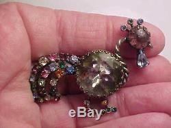 Rare vintage Schiaparelli multi-color rhinestone rooster pin brooch