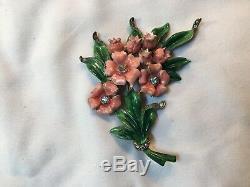 Ravishing Vintage Signed Reja Enamel & Rhinestone Flower Brooch Pin