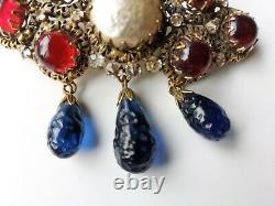 Regal 1950s Vintage Schreiner Rhinestone Baroque Pearl, Art Glass Dangle Brooch