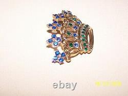 Regal Crown Trifari Vintage Open Work Crown Brooch Blue Green Rhinestones