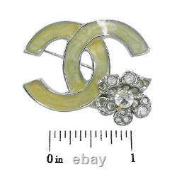 Rise-on CHANEL Silver Plated CC Logos Flower Rhinestone Vintage Pin Brooch #118c