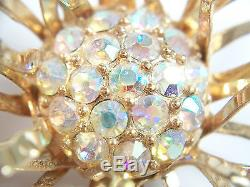 SARAH COVENTRY Vintage Iridescent Rhinestone & Gold Tone Brooch C. 1950's
