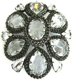 SCHREINER HUGE Blinding Ice Inverted Rhinestone Rope Chain Vintage Pin Brooch