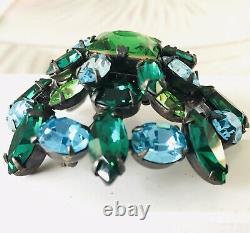 SCHREINER Rare Set Brooch Earring 3 Pc Vintage Green Aqua Transparent Estate Pc