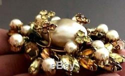 SPECTACULAR Vintage Vendome Rhinestone & Faux Pearl Dimensional Brooch