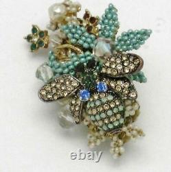 STANLEY HAGLER Brooch Seed Pearl Rhinestone Figural Bumble Bee Pin