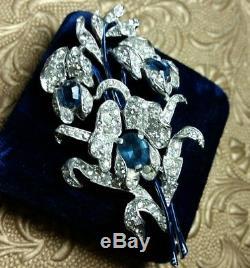 STUNNING Vintage TRIFARI Pave Rhinestone Azure Blue Enamel Flower Spray Brooch