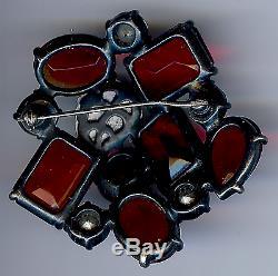 Schiaparelli Juicy Vintage Red Glass & Rhinestone Pin Brooch