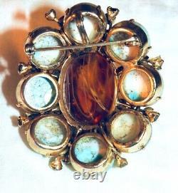 Schreiner Brooch Art Glass Dome with Peridot Rhinestones Vintage