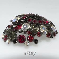Schreiner Brooch Earrings Set VTG Cranberry Red & Gray Iridescent Rhinestones