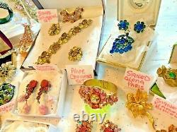 Schreiner High End Vintage Lot Schiaparelli Sets Earrings Brooches 120 Pc