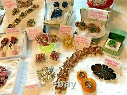 Schreiner High End Vintage Lot Schiaparelli Sets Earrings Brooches 52 Pc