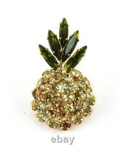 Schreiner N. Y. Vintage Pineapple Figural Rhinestone Brooch Verified