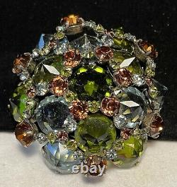 Schreiner NY Rare Vintage 2-1/2 Signed Amber Green Inverted R/S Brooch Pin A53