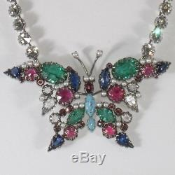 Schreiner Necklace Brooch Pin LARGE 4.25 Butterfly Convertible Insect VTG