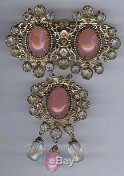 Schreiner New York Huge Vintage Pink Glass & Rhinestone Dangles Pin Brooch