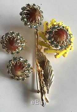 Schreiner Vintage Rhinestone Yellow Art Glass Flower Pin Brooch & Earrings Set