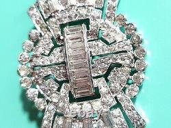 Shiny Vintage Signed KTF Trifari 1930s Rhinestone Brooch Silver Baguette Pin