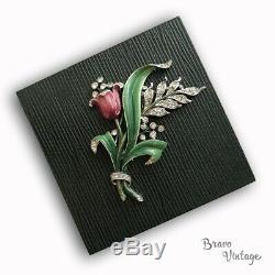 Signed CROWN TRIFARI Vintage Enamel Rhinestone Flower Brooch Fur Clip