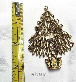 Signed Eisenberg Ice Large Christmas Tree Pin Brooch Vintage Rhinestones
