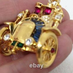 Signed TRIFARI Vintage Antique CAR BROOCH Pin Moving Wheels Philippe Design