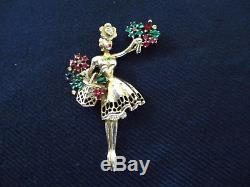 Signed Trifari Flower Seller Girl Brooch Sterling Silver VTG 1947 Figural