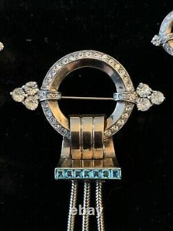 Signed Vintage MAZER PIN / Brooch & Earrings Rhinestones Sterling DECO- WOW
