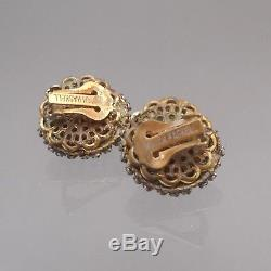 Signed Vintage Miriam Haskell Set Brooch Pin Earrings Green Glass Rhinestones
