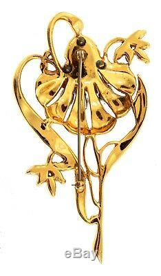 Spectacular Vtg 1940 Katz CORO Trembler FLOWER Figural Rhinestone Brooch Pin