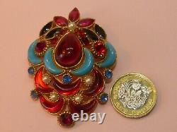 Sphinx vintage show-stopping poured glass and rhinestone'Moghul' brooch