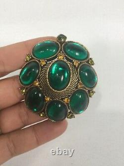 Statement Vtg Green Gripoix Amber Rhinestone gold tone pin brooch