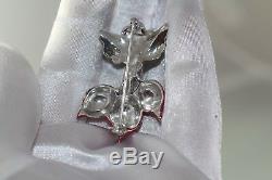 Sterling Rare Vintage 1940s REJA Radish Enamel Figural Brooch pin Radishes