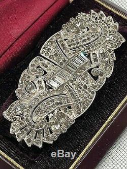 Stunning Antq Vtg Early Clipmate Brooch Pat2066969 Trifari Pat 2253904 Rhodium P