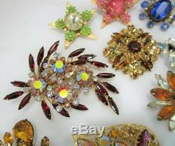Stunning Lot Of 32 All Rhinestone Vintage Broochesbskb. Davidjudy Lee+++